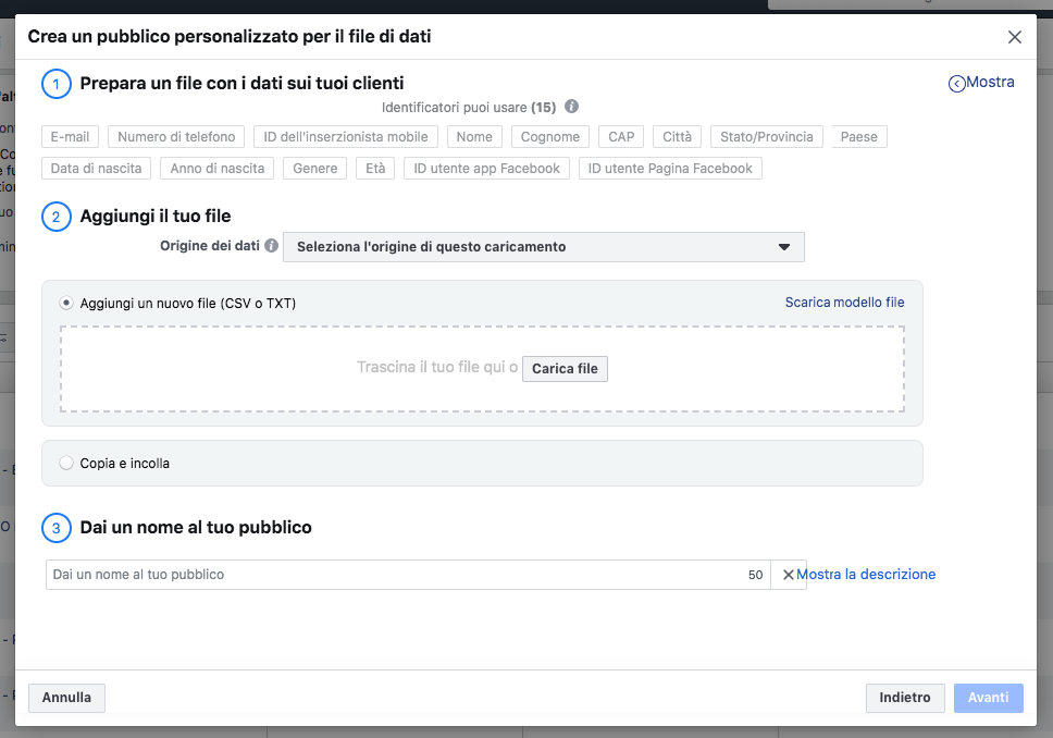 Campagna remarketing facebook ads